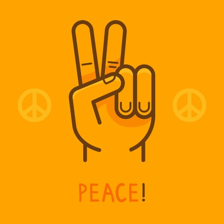 Vector peace sign - hand showing two fingers - modern flat illustration on yellow background