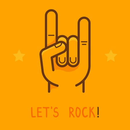 rock hand: Vector lets rock banner in outline style - male hand on yellow background