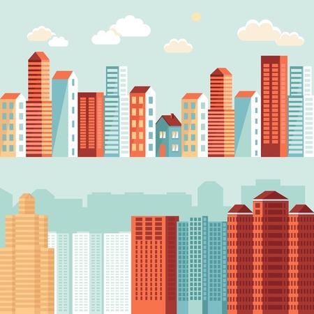 単純なフラット スタイル - 住宅と水平方向のバナーの建物 - ウェブサイトのヘッダーの都市図