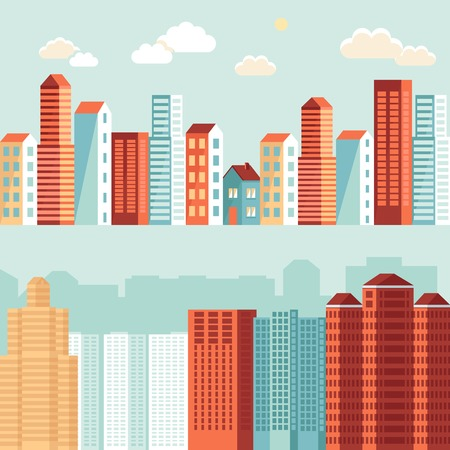 block of flats: city illustration in flat simple style - houses and buildings on horizontal banners - website headers