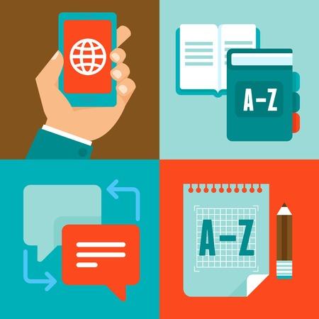 interpretation: flat trendy icons - translation and foreign languages - studying and interpretation