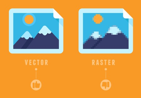 Raster vs vector concept - flat icons - infographic design elements - comparison of different image formats Vector