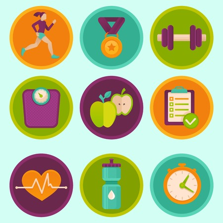 set of fitness icons and achievement badges in flat style Vector