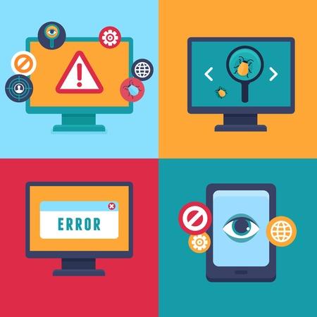 virus informatico: iconos planos e ilustraciones de seguridad de Internet y de advertencia de virus - ataque informático y de infección de virus