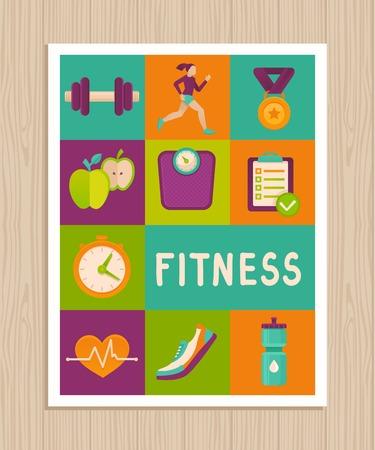 건강한 라이프 스타일과 다이어트 - 피트 니스 아이콘과 성취 배지 플랫 스타일의 벡터 설정