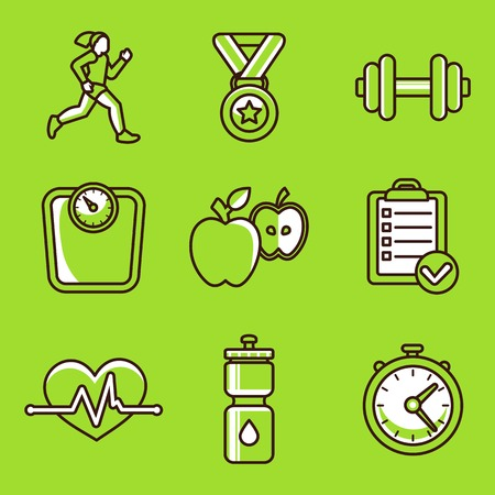 dieting: set of fitness icons and achievement badges in flat outline style of healthy lifestyle and dieting Illustration