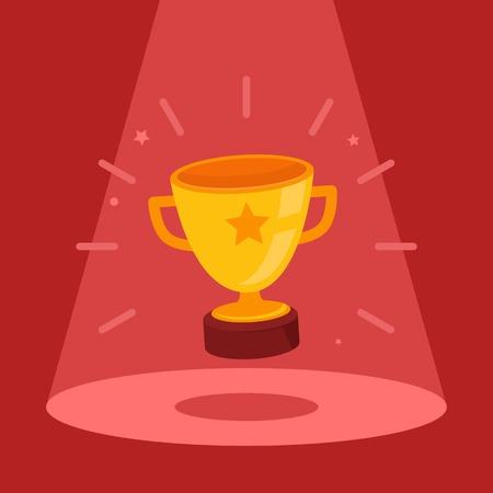 Vector victory concept - flat bowl icon in the spotlight