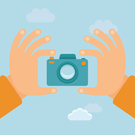Vector flat illustration - hands holding digital camera and taking photo