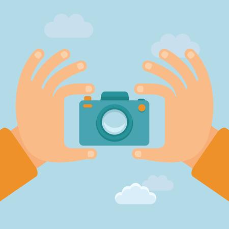 Vector flat illustration - hands holding digital camera and taking photo