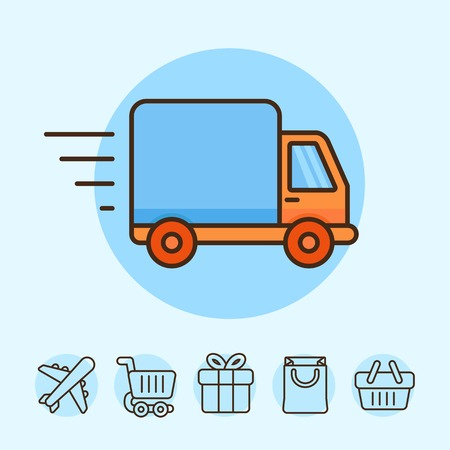 fast delivery: Vector delivery concept in flat style - truck icon - shipping and online shopping