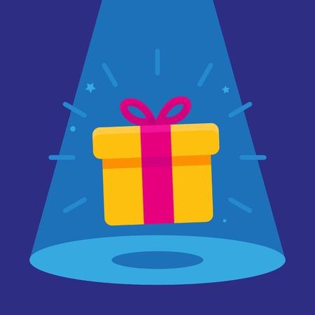 Vector surprise concept - gift icon in the spotlight - winning banner Illustration