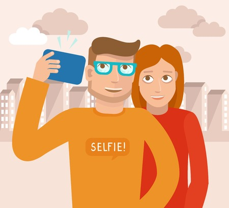selfie: Vector smiling man and woman - flat characters taking selfie by mobile phone - new technology concept