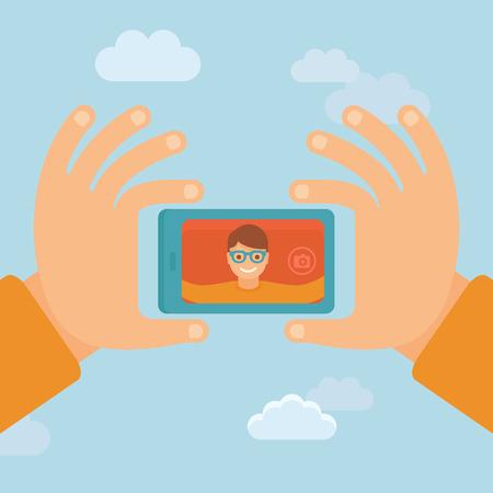 people  camera: Vector hombre sonriente - personaje plano teniendo selfie por tel�fono m�vil - nuevo concepto de la tecnolog�a Vectores