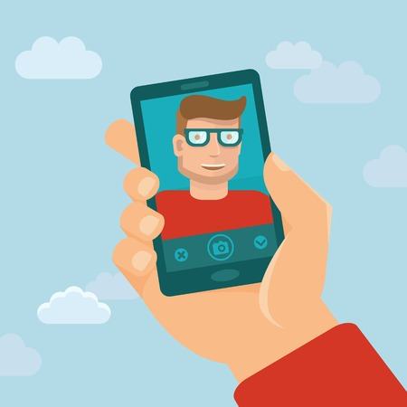 Vector smiling man - flat character taking selfie by mobile phone - new technology concept