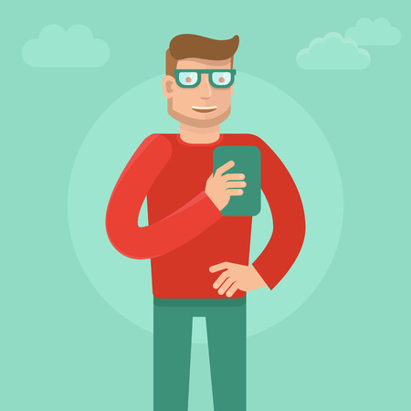 Vector man wearing glasses in flat style - smartphone addiction concept Vector