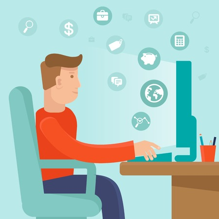 freelancer: Vector self employed man in flat style - sitting at computer and working on freelance project - infographic with icons and signs