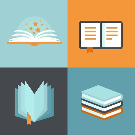 Vector book signs and symbols - education concepts in flat style Vettoriali