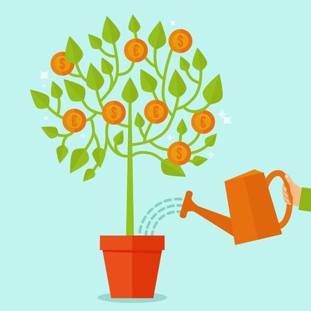 フラット スタイル - 緑の植物、枝にコインを置いて - 投資概念ベクトルお金ツリーの概念