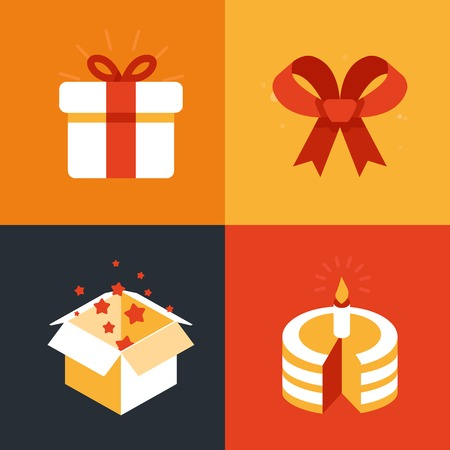 give a gift: Vector present emblems and signs - gift illustration in flat style Illustration