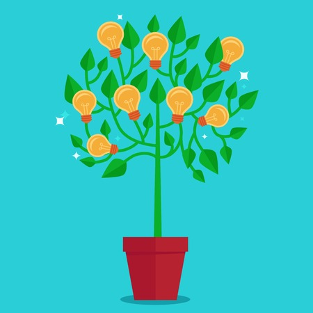start up: Vector tree concept in flat style - green plant with light bulbs on the branches - idea concept