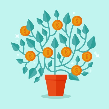 investment concept: Vector money tree concept in flat style - green plant with coins on the branches - investment concept