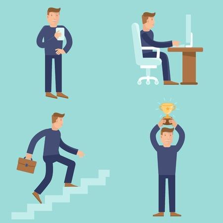seres humanos: Conjunto de conceptos de negocio y de carrera en estilo plano - ilustraciones de dibujos animados - los hombres que trabajan y que han alcanzado el �xito y el proceso de mejora