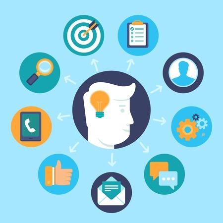 Vector ressources humaines notion de style plat - éléments et des icônes du design infographique