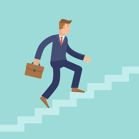 subiendo escaleras: Concepto de carrera del vector en estilo plana - hombre de la historieta que sube la escalera del éxito y el progreso