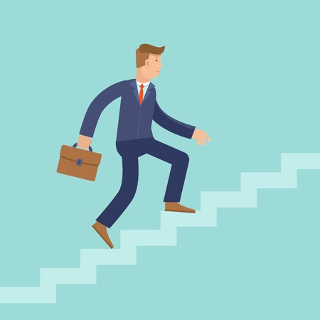 climbing stairs: Vector career concept in flat style - cartoon man climbing the staircase to success and progress