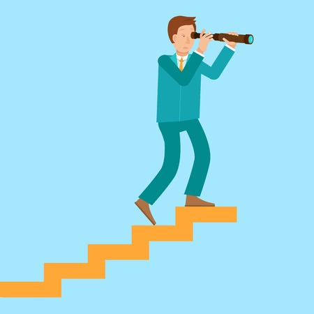 Vector career concept in flat style - cartoon man climbing the staircase to success and progress Vector