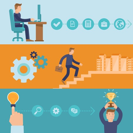 Vector infographic design elements and icons - career and business - cartoon man working and achieving success Vector