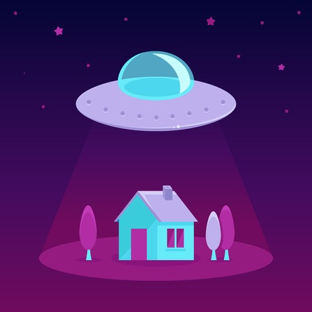flying saucer: Vector ufo cartoon illustration in flat style - flying saucer over a house and trees Illustration