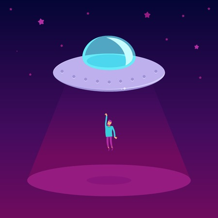 hijacking: Vector ufo cartoon illustration in flat style - - flying saucer kidnapping a man Illustration