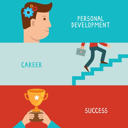 Vector business success concepts in flat style - career from personal development to success - infographic design elements on horizontal banners Çizim