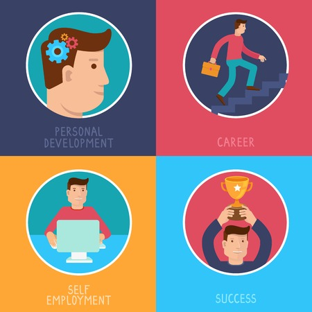 self development: Vector business success concepts in flat style - career from personal development to success - infographic design elements on horizontal banners Illustration