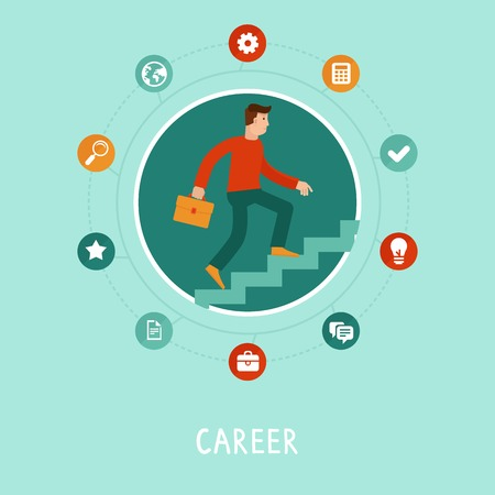 Vector career concept in flat style - cartoon man climbing the staircase to success and progress