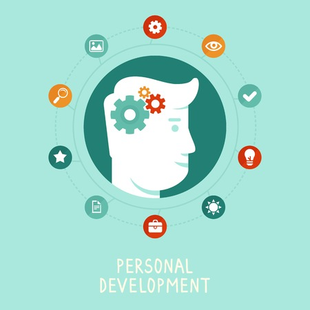 personal development: Vector personal development concept in flat style - infographic design elements and icons