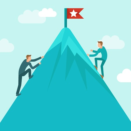 mountain climbing: Vector business competition concept in flat style - business man climbing up the mountain to achieve success