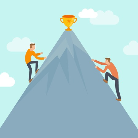competitions: Vector business competition concept in flat style - business man climbing up the mountain to achieve success