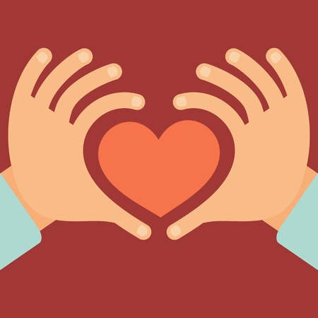 Vector hands in the form of heart - love and charity concept in flat style Çizim