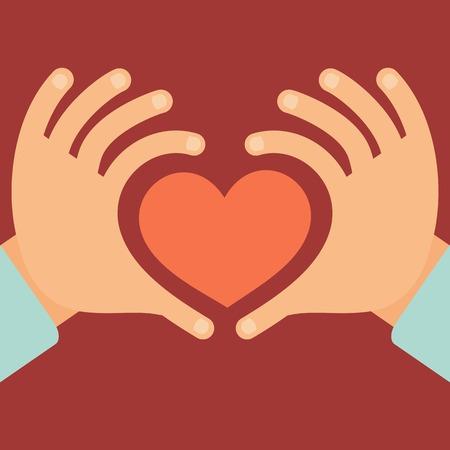 el coraz�n de san valent�n: Vector manos en forma de coraz�n - el amor y el concepto de la caridad en el estilo plano