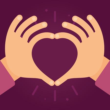 ベクトル心 - の形で手のフラット スタイルの愛と慈悲の概念