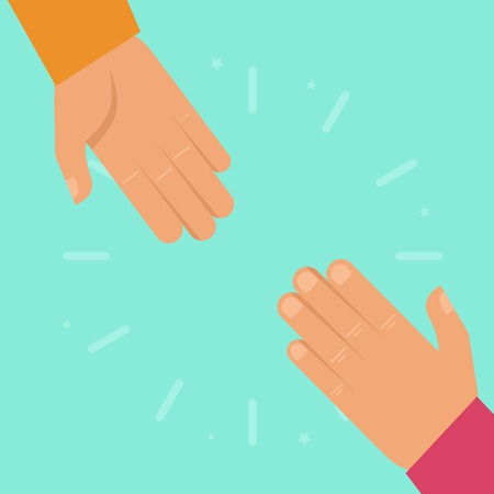 Vector helping hands in flat style - charity and support concept