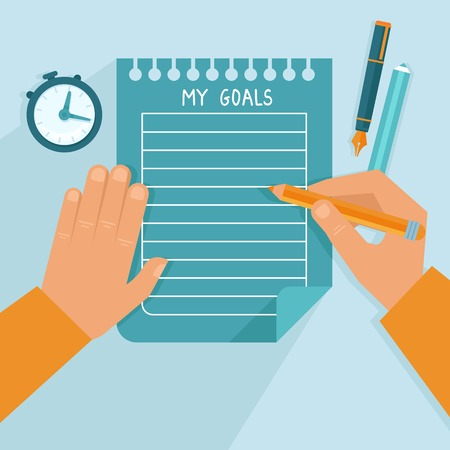 writing paper: Vector personal goals list in flat style - man writing on the notebook page