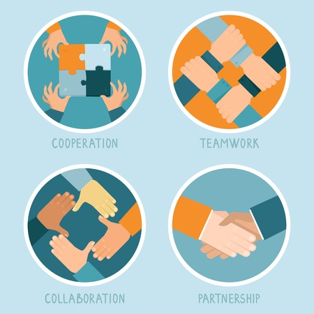 Vector teamwork and cooperation concept in flat style - partnership and collaboration icons - businessmen hands Vector