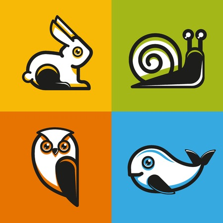 cartoon snail: animal emblems and icons in flat style - snail, owl, rabbit and whale
