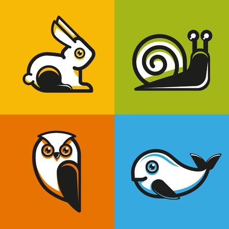 caracol: emblemas animales e iconos de estilo plano - caracol, búho, conejo y ballena