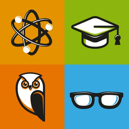 graduated: education concepts in flat outline style - school and university icons and signs
