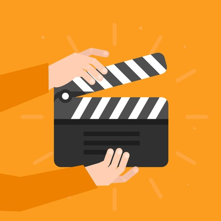 clap: Two hands holding a cinema clapper in flat style - movie concept