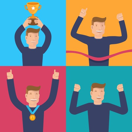 victory: set of flat illustrations with happy businessman - victory concepts and icons - smiling characters winning in the competition